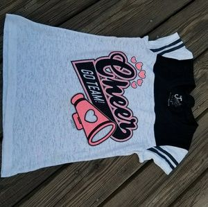 """Justice """"cheer """" shirt size 8"""